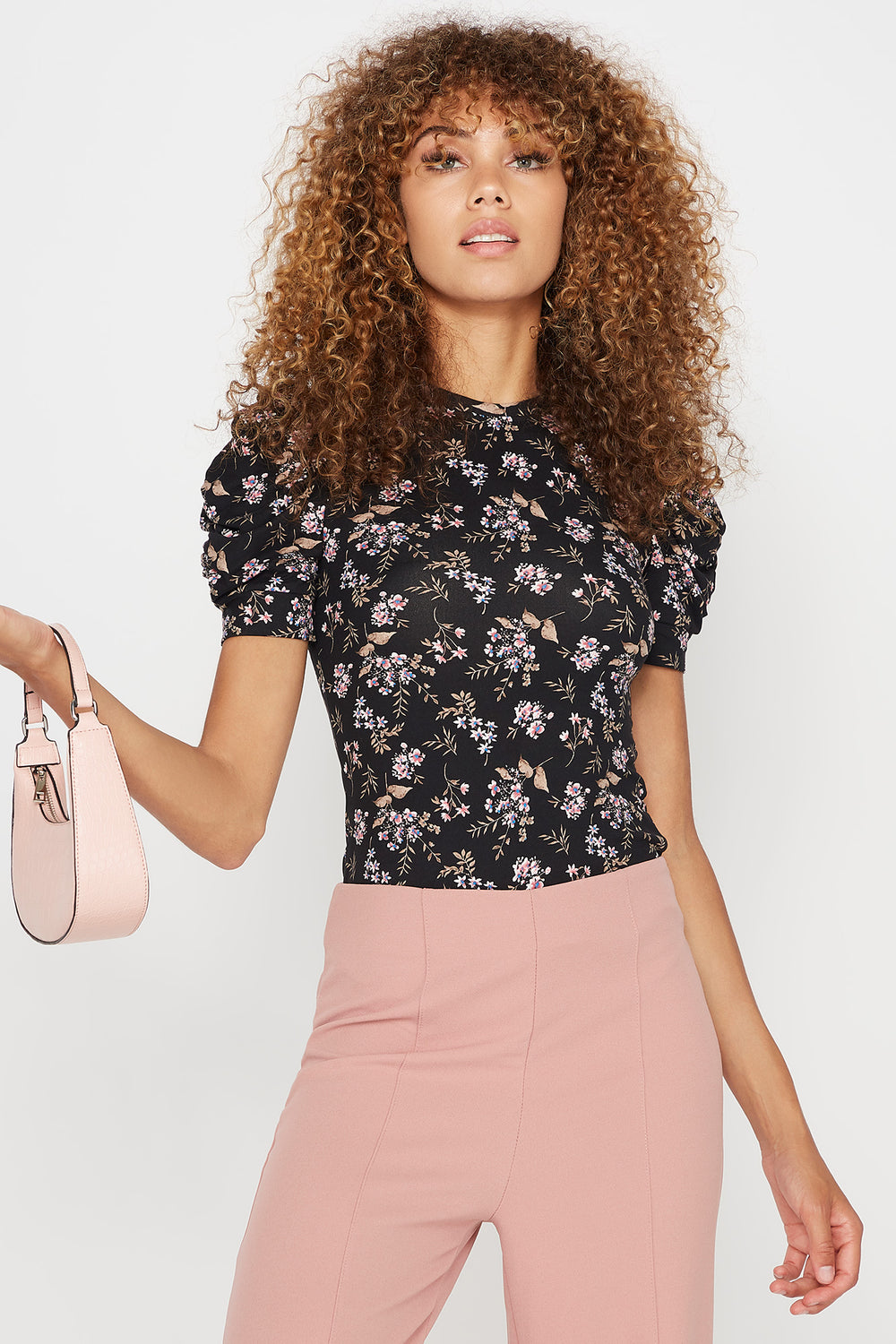 Floral Ruched Puff Sleeve Crew Neck T-Shirt Black