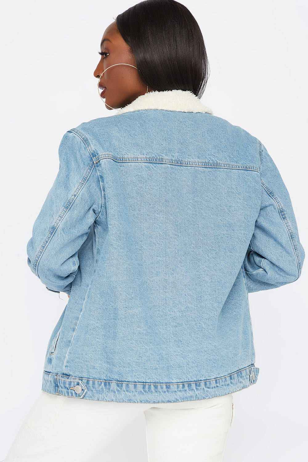 Denim Sherpa Trucker Jacket Light Denim Blue