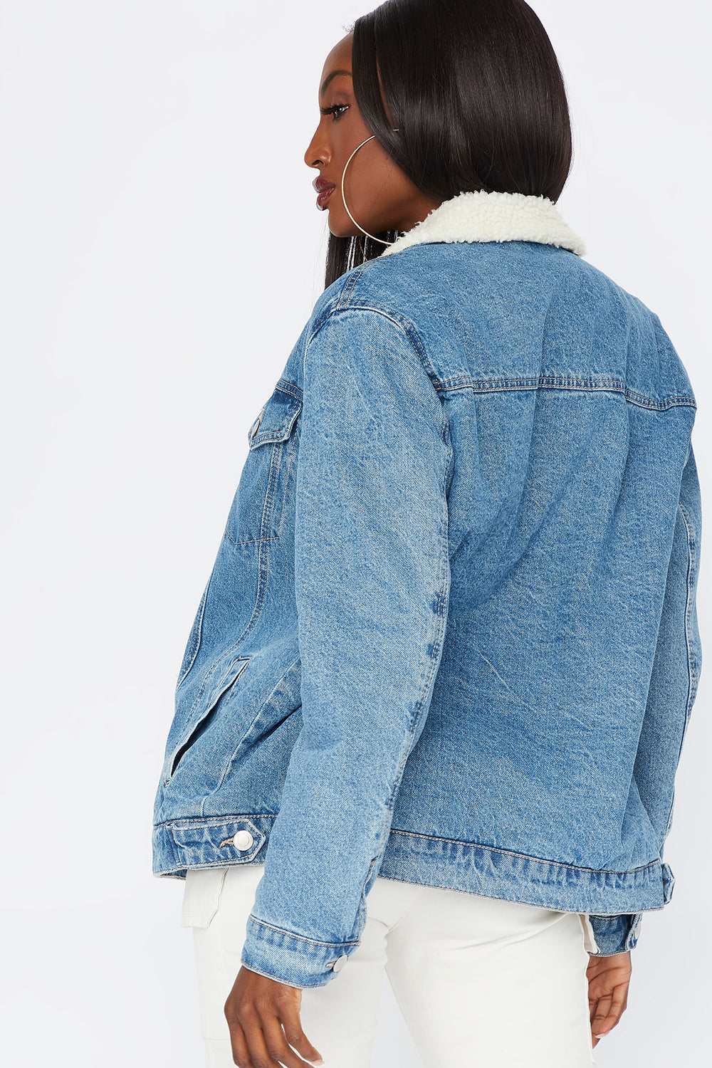 Denim Sherpa Trucker Jacket Denim Blue