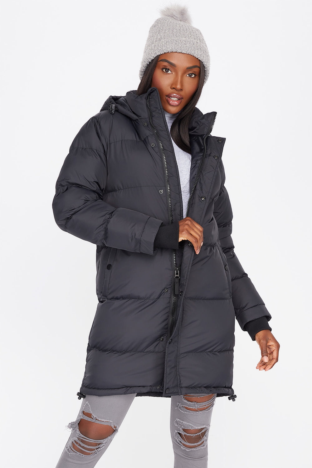 Mid-Length Zip-Up Hooded Puffer Jacket Plaid