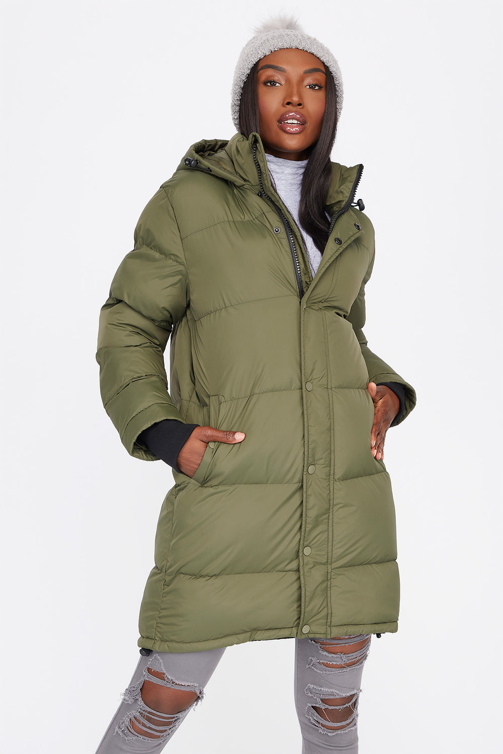 Mid-Length Zip-Up Hooded Puffer Jacket Green