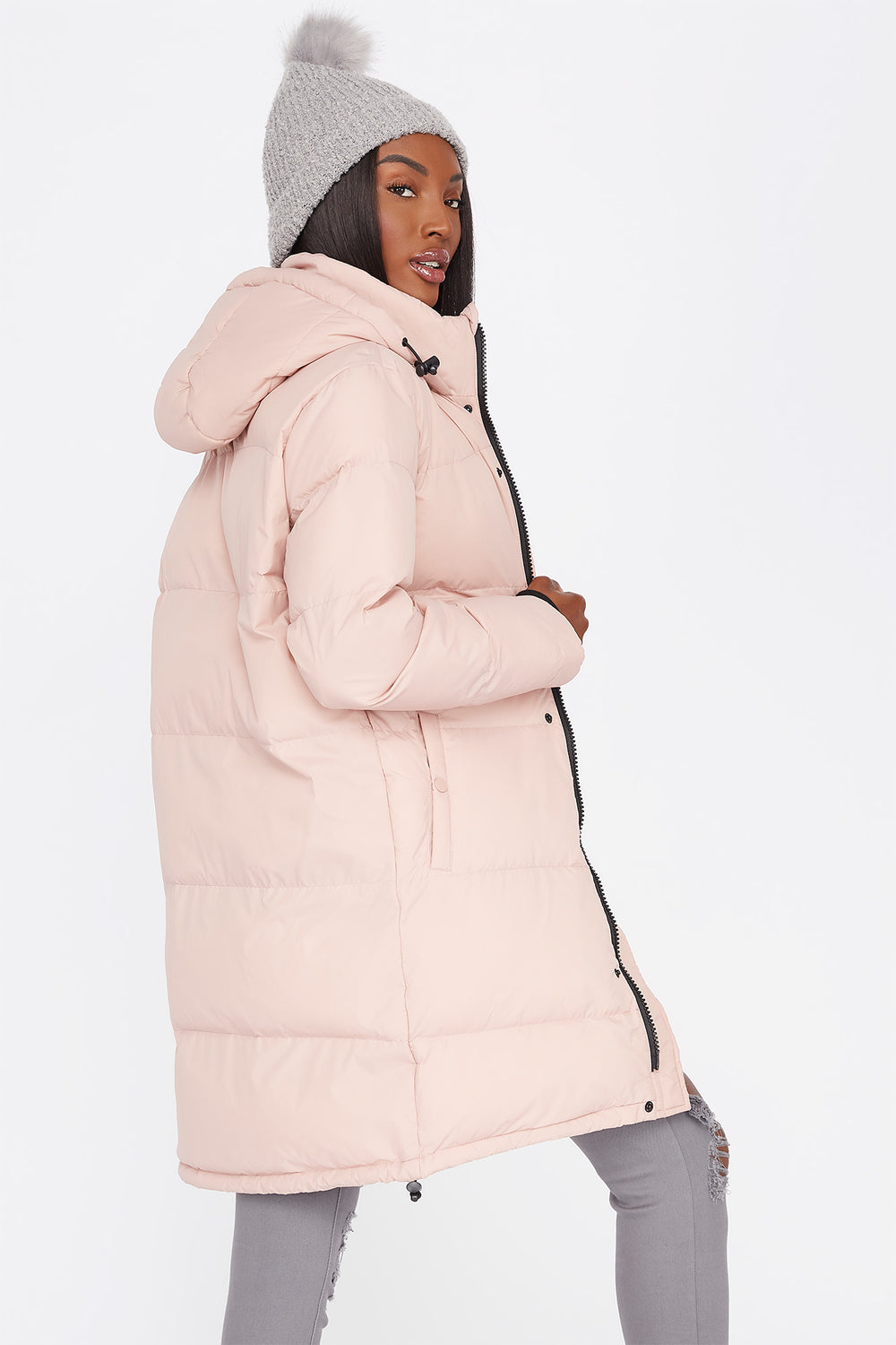Mid-Length Zip-Up Hooded Puffer Jacket Mauve