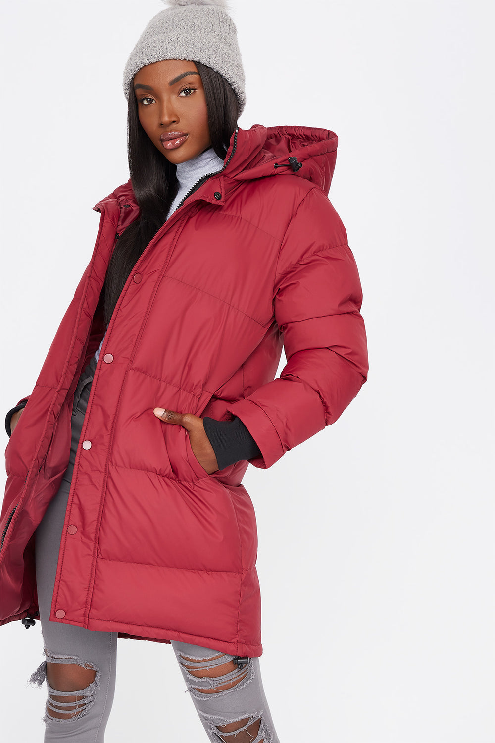 Mid-Length Zip-Up Hooded Puffer Jacket Wine