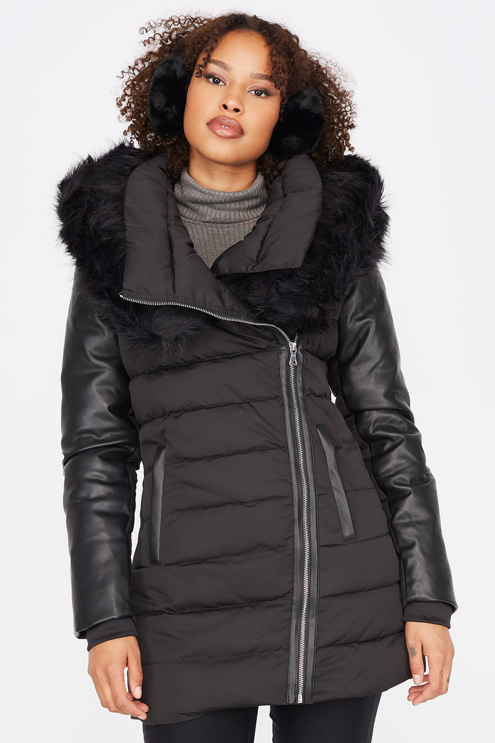 Faux-Leather Mid-Length Down Filled Puffer Jacket Black