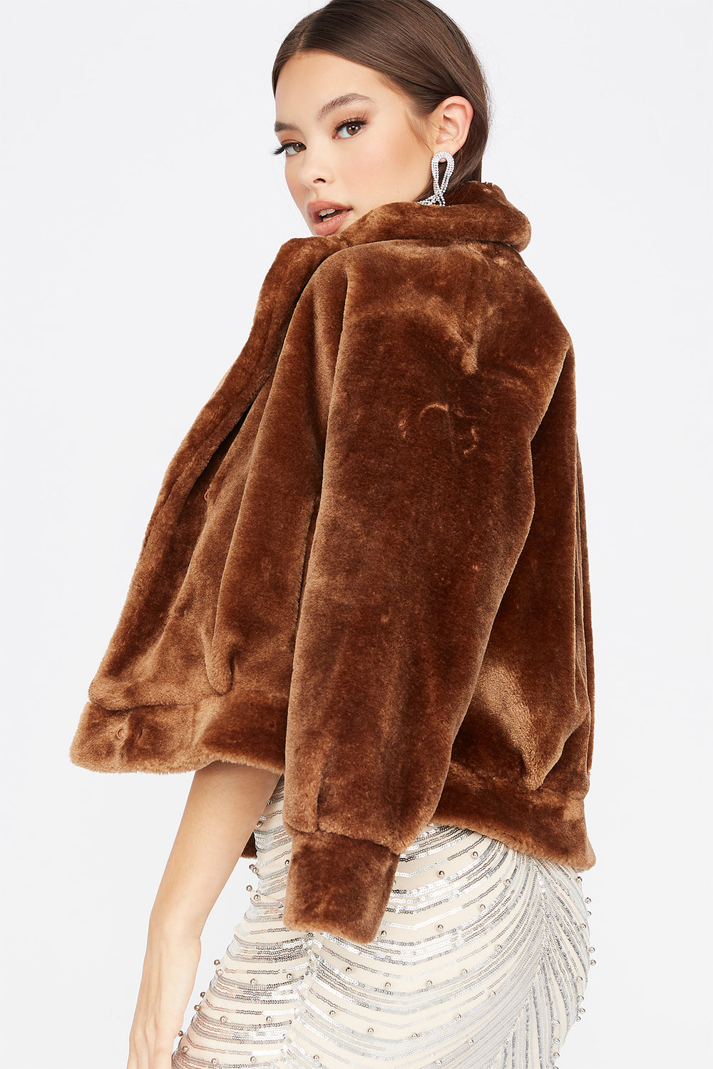 Faux-Fur Open Front Cuffed Jacket Camel
