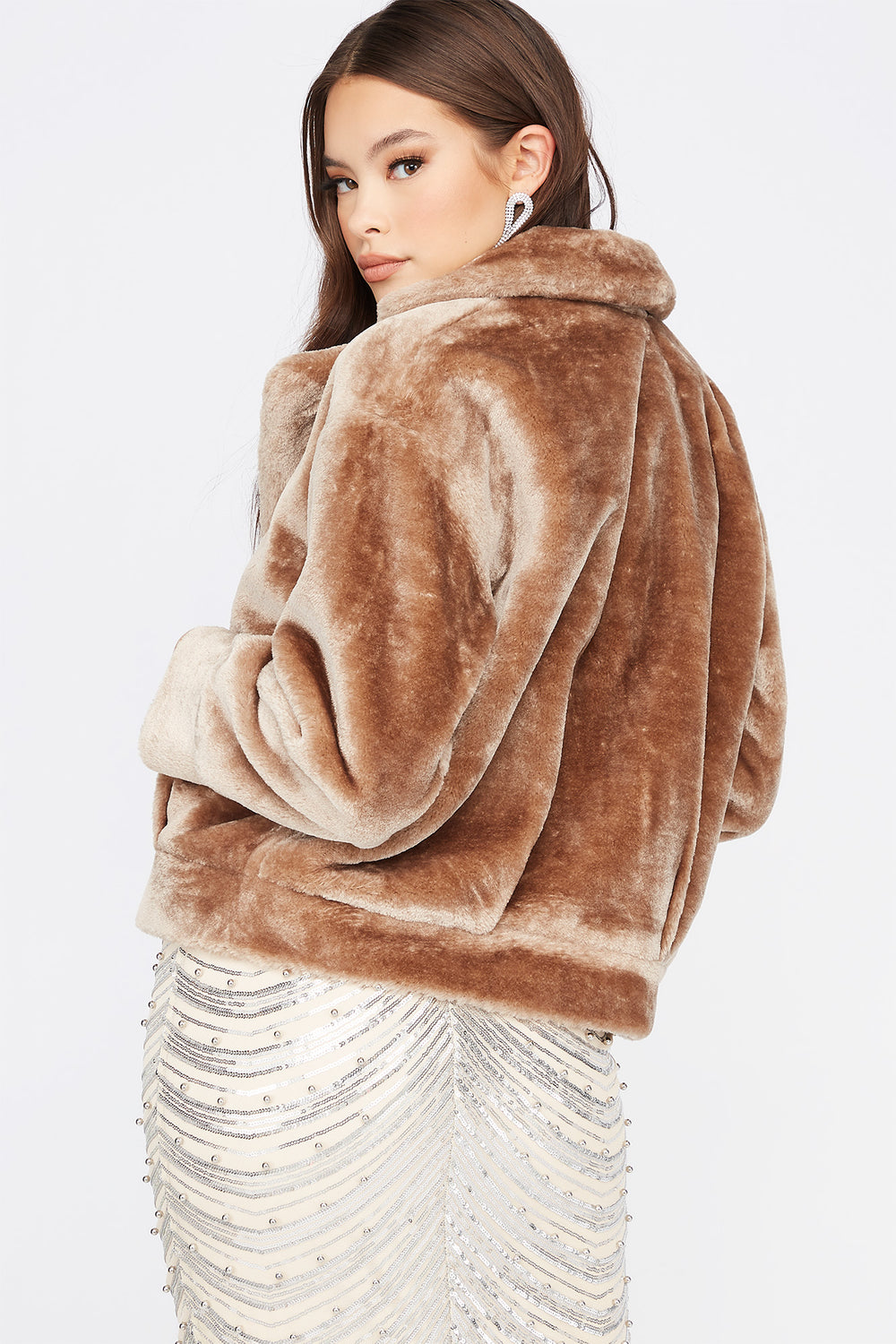 Faux-Fur Open Front Cuffed Jacket Tan