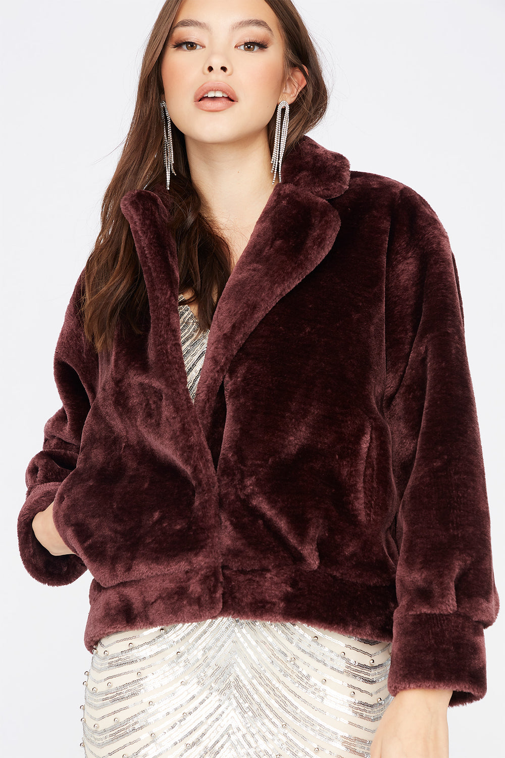 Faux-Fur Open Front Cuffed Jacket Burgundy