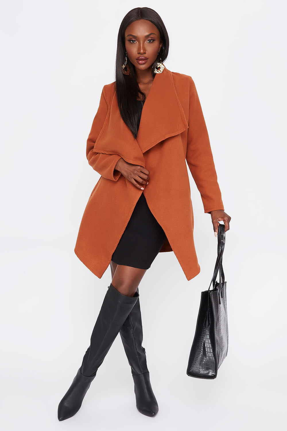 Wool Waterfall Belted Open Front Jacket Rust