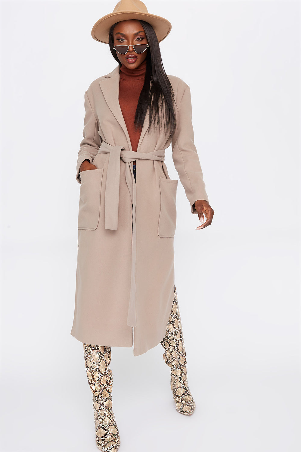 Wool Longline Belted Open Front Coat Taupe