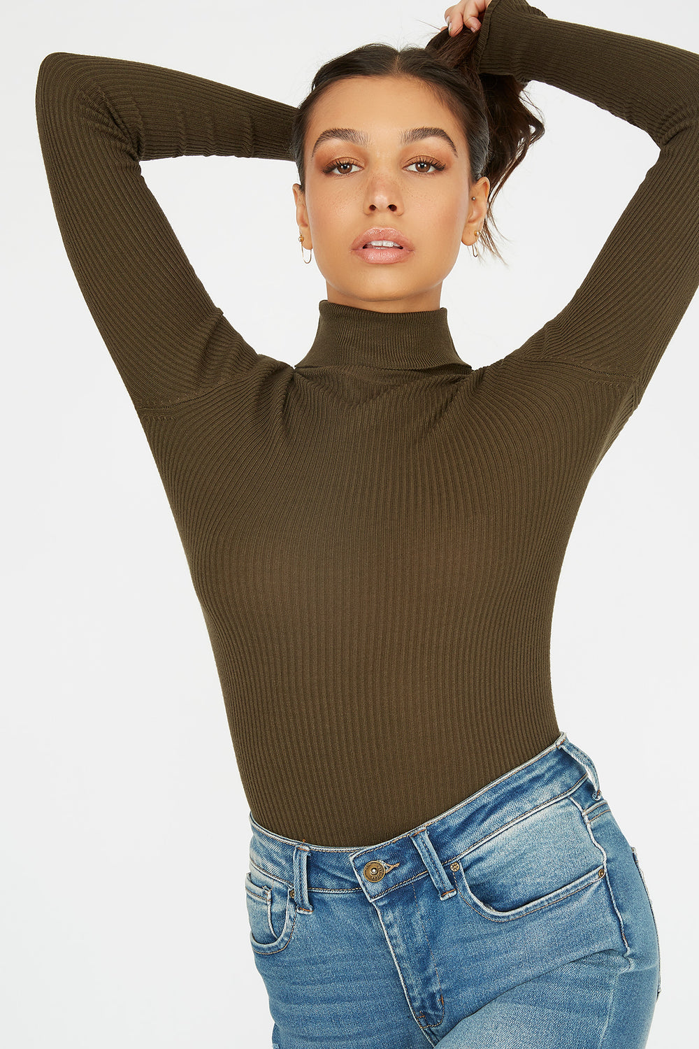 Turtleneck Ribbed Long Sleeve Sweater Dark Green