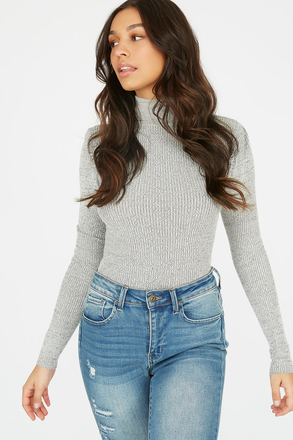 Turtleneck Ribbed Long Sleeve Sweater Black with White