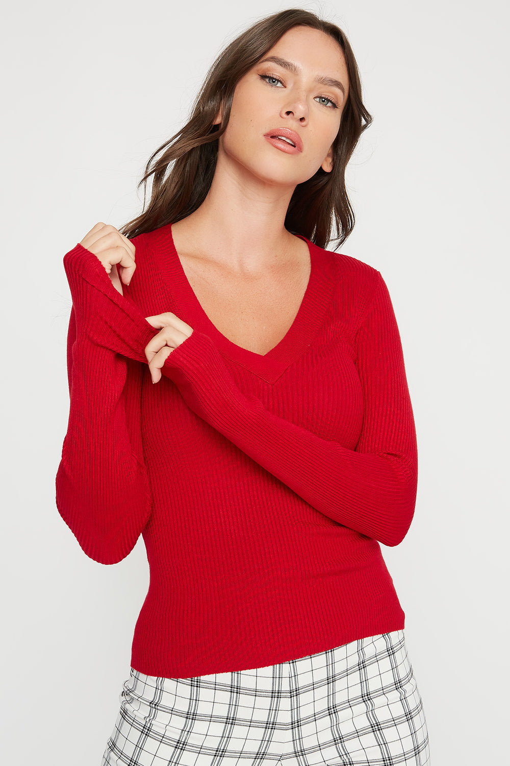 V-Neck Ribbed Knit Lightweight Sweater Red