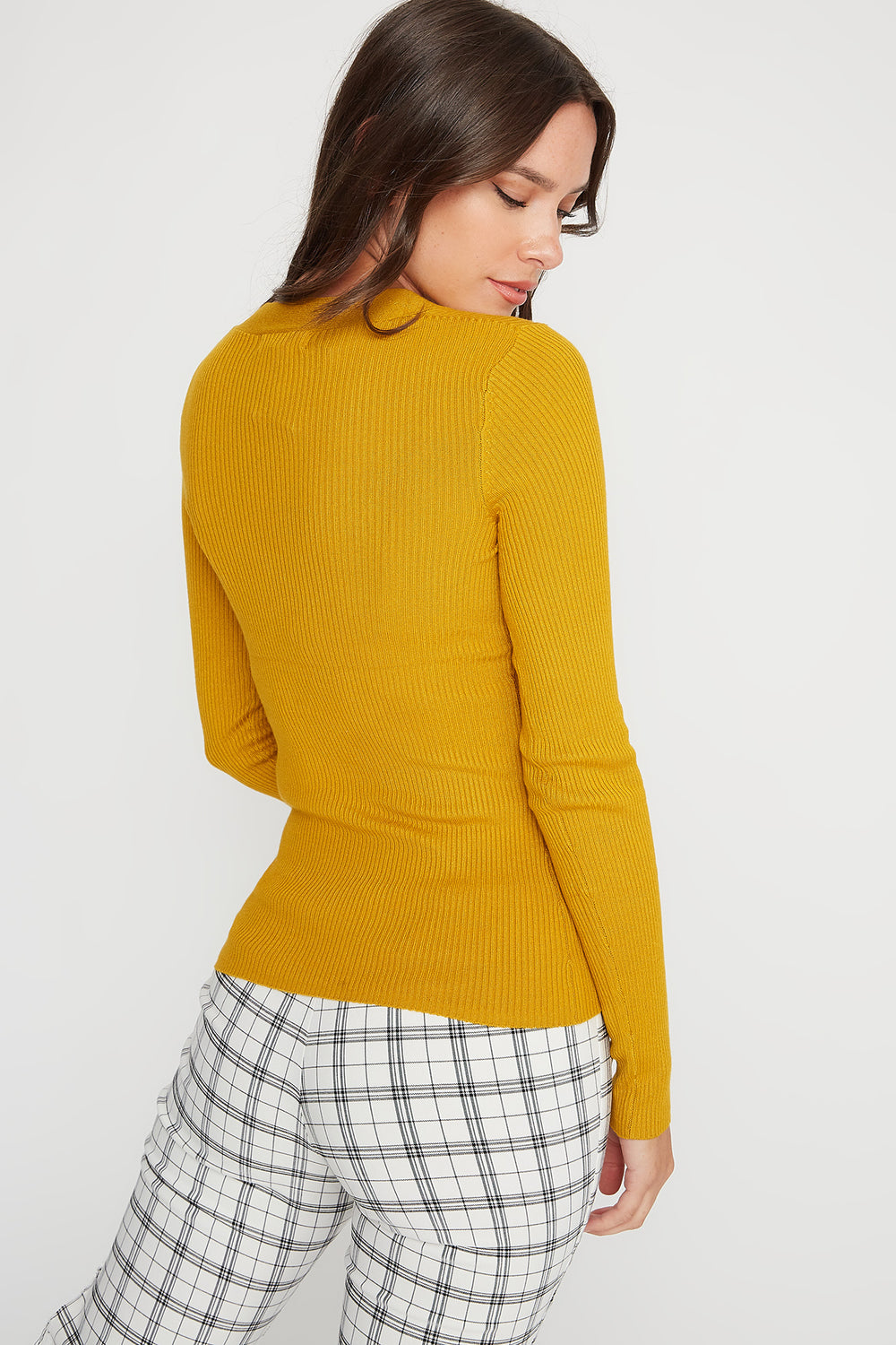 V-Neck Ribbed Knit Lightweight Sweater Yellow