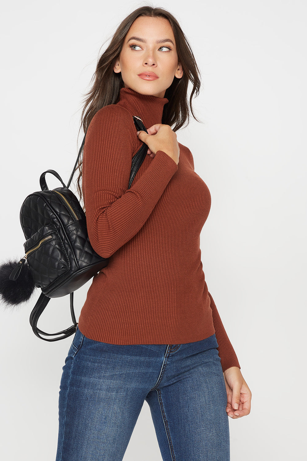 Ribbed Turtleneck Long Sleeve Sweater Brown