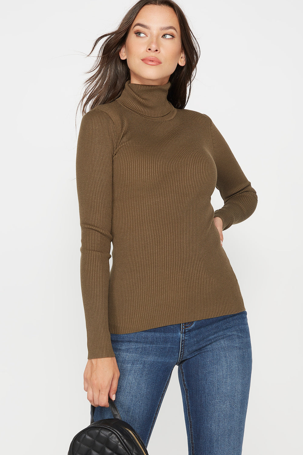 Ribbed Turtleneck Long Sleeve Sweater Dark Green