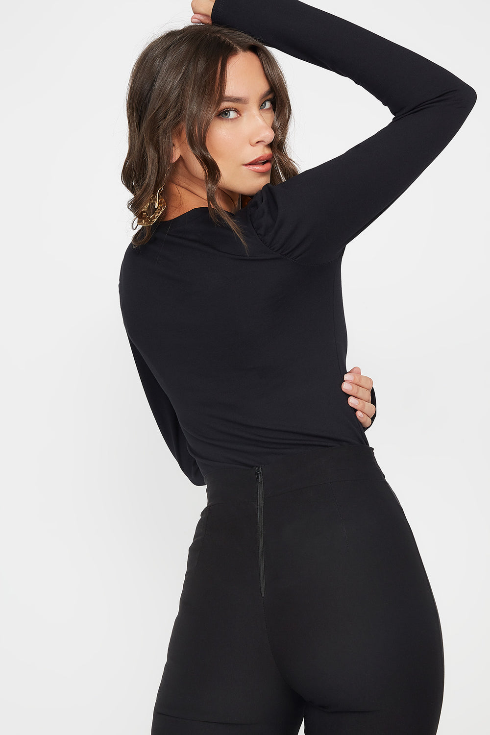 Scoop Neck Puff Long Sleeve Bodysuit Black