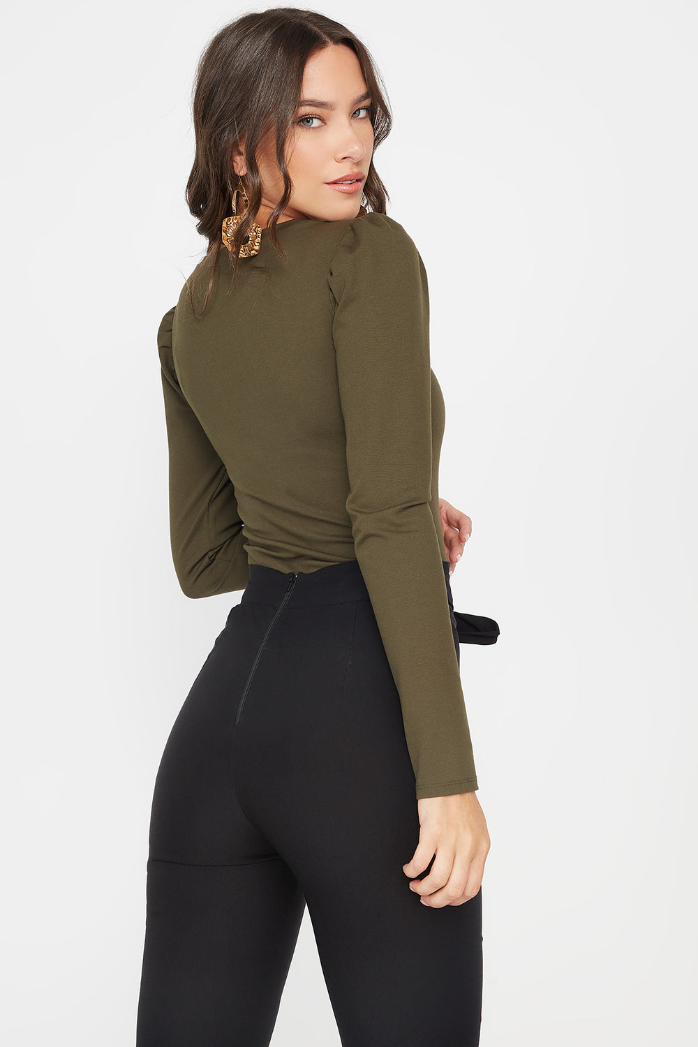 Scoop Neck Puff Long Sleeve Bodysuit Dark Green