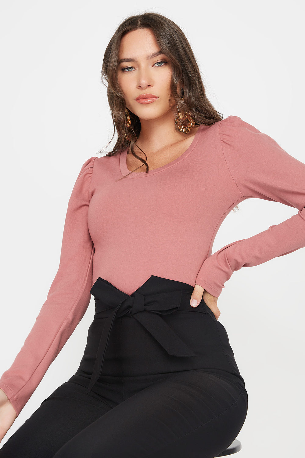 Scoop Neck Puff Long Sleeve Bodysuit Mauve