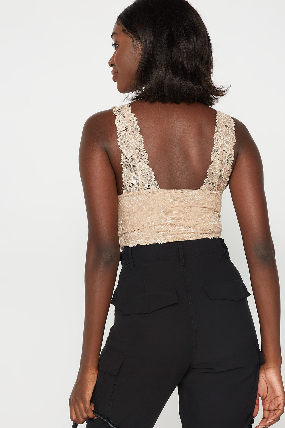 Lace V-Neck Scallop Hem Sleeveless Bodysuit Taupe