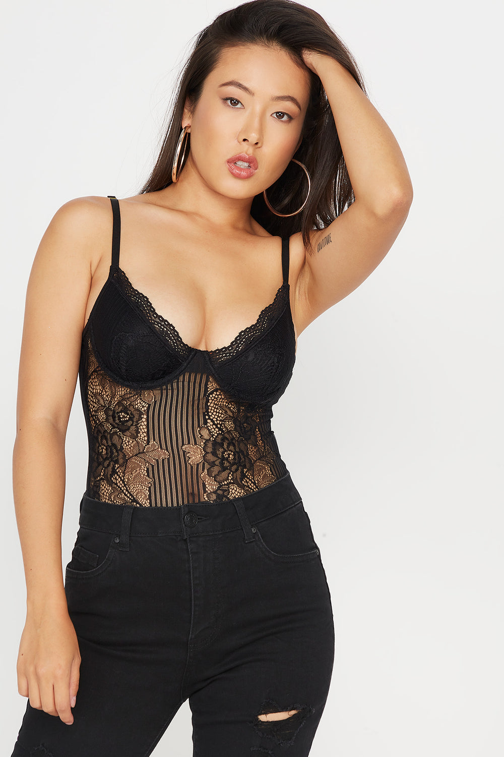 Mesh Lace Underwire Bodysuit Black