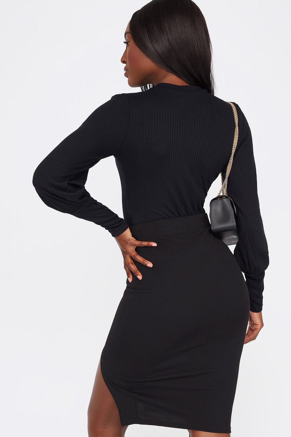 Ribbed Crew Neck Long Puff Sleeve Bodysuit Black