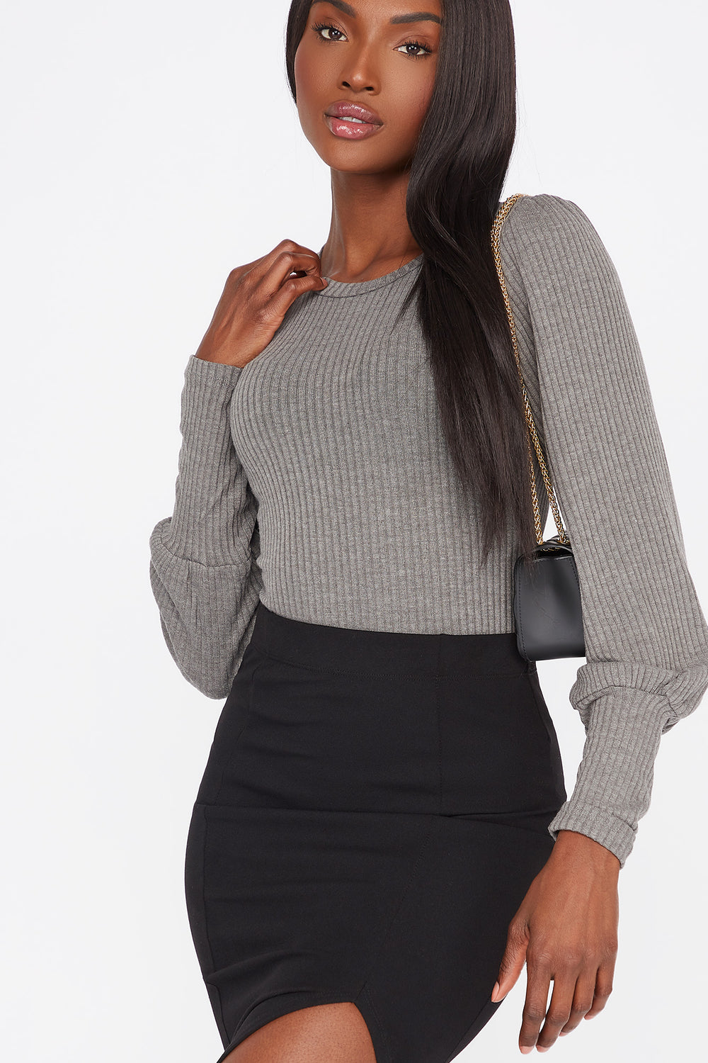 Ribbed Crew Neck Long Puff Sleeve Bodysuit Charcoal