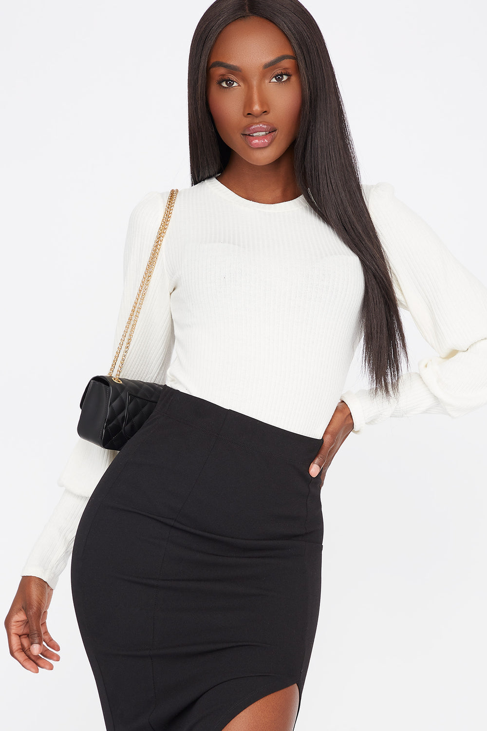 Ribbed Crew Neck Long Puff Sleeve Bodysuit Off White