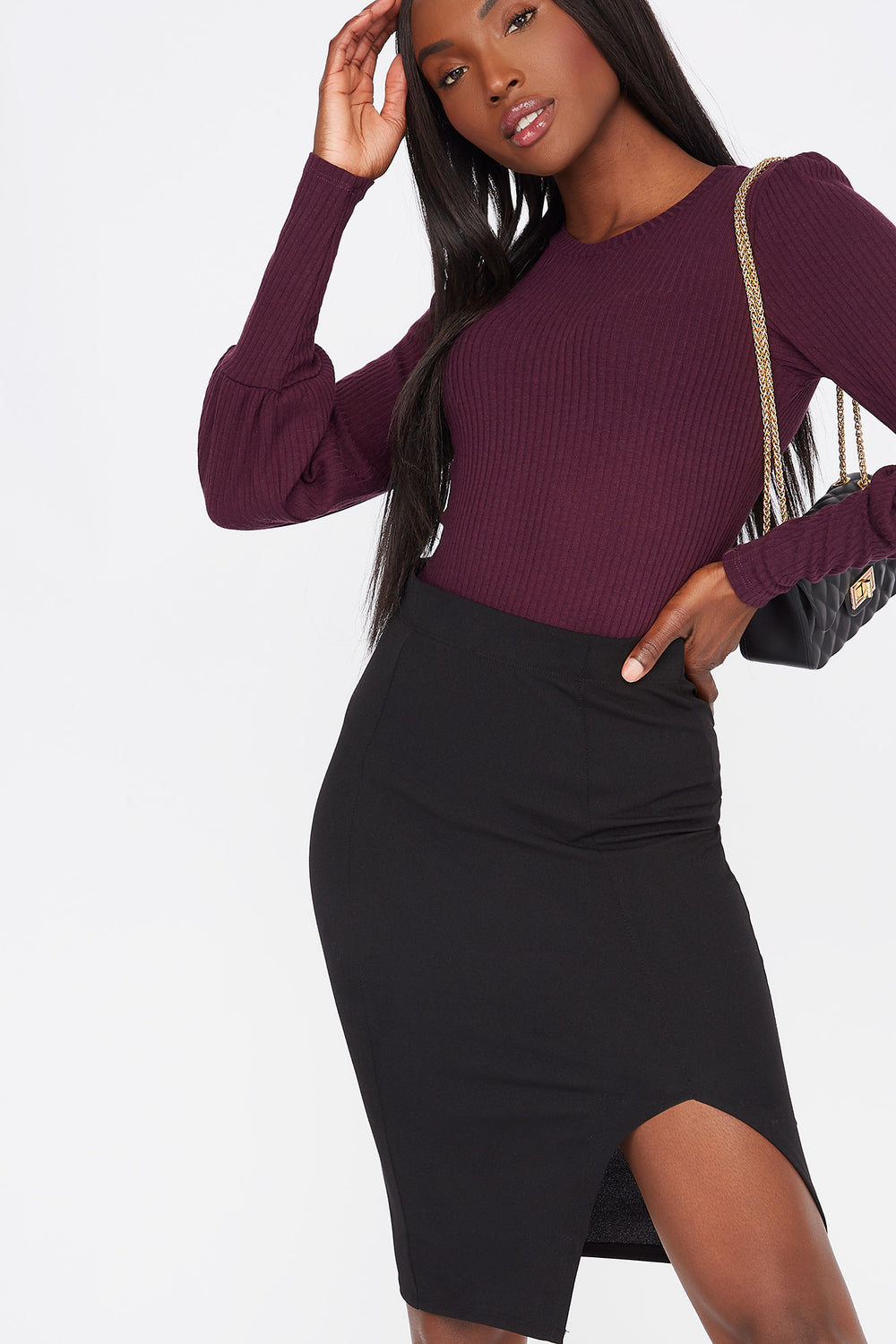 Ribbed Crew Neck Long Puff Sleeve Bodysuit Eggplant