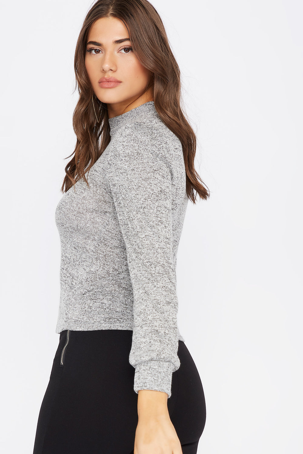 Knit Mock Neck Puff Sleeve Top Heather Grey