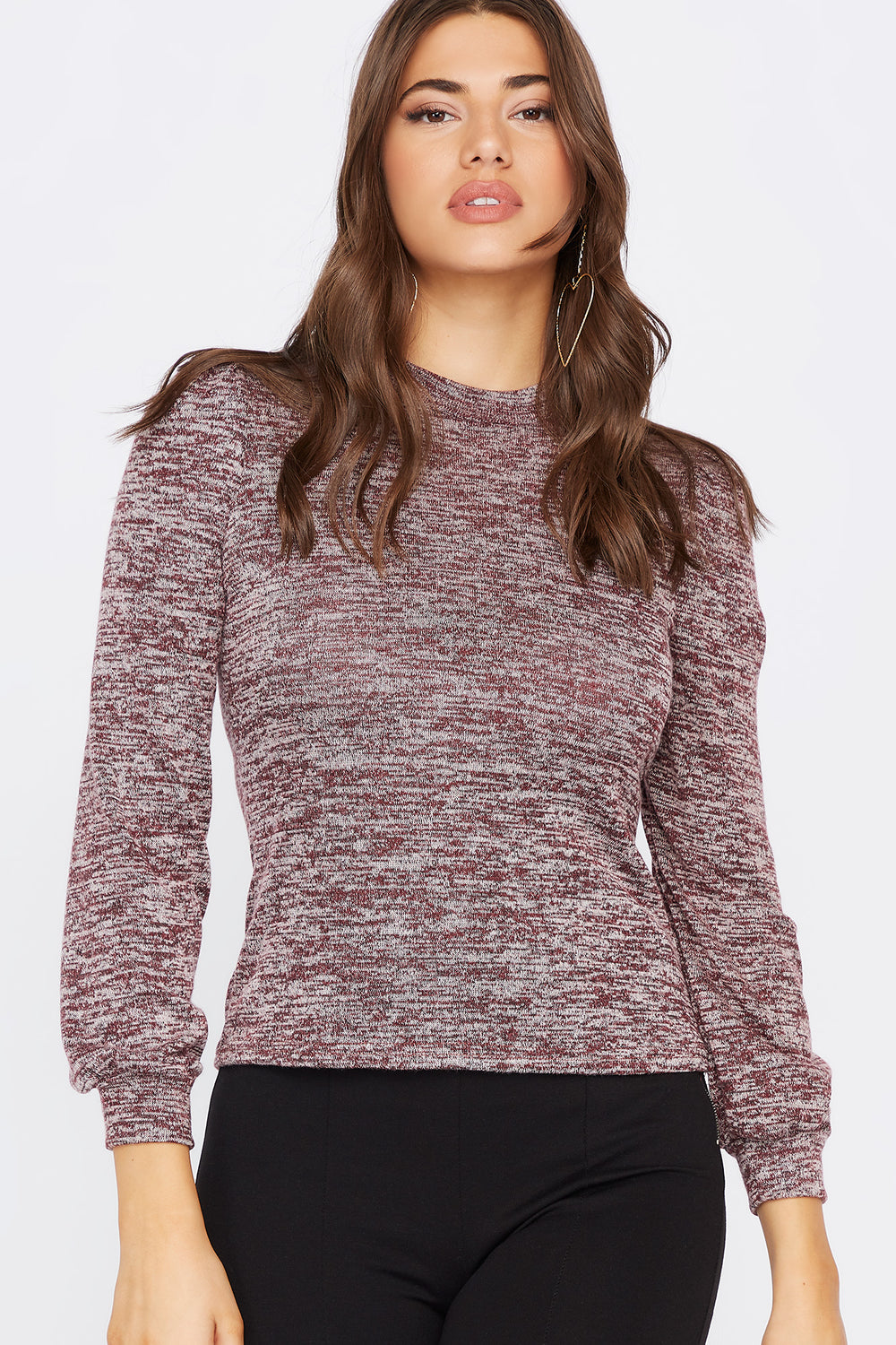 Knit Mock Neck Puff Sleeve Top Eggplant