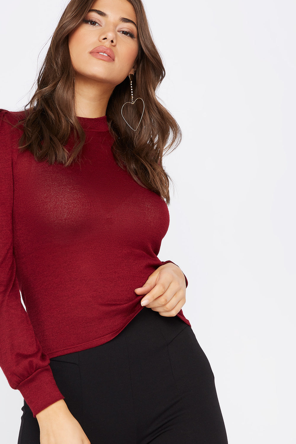 Knit Mock Neck Puff Sleeve Top Burgundy