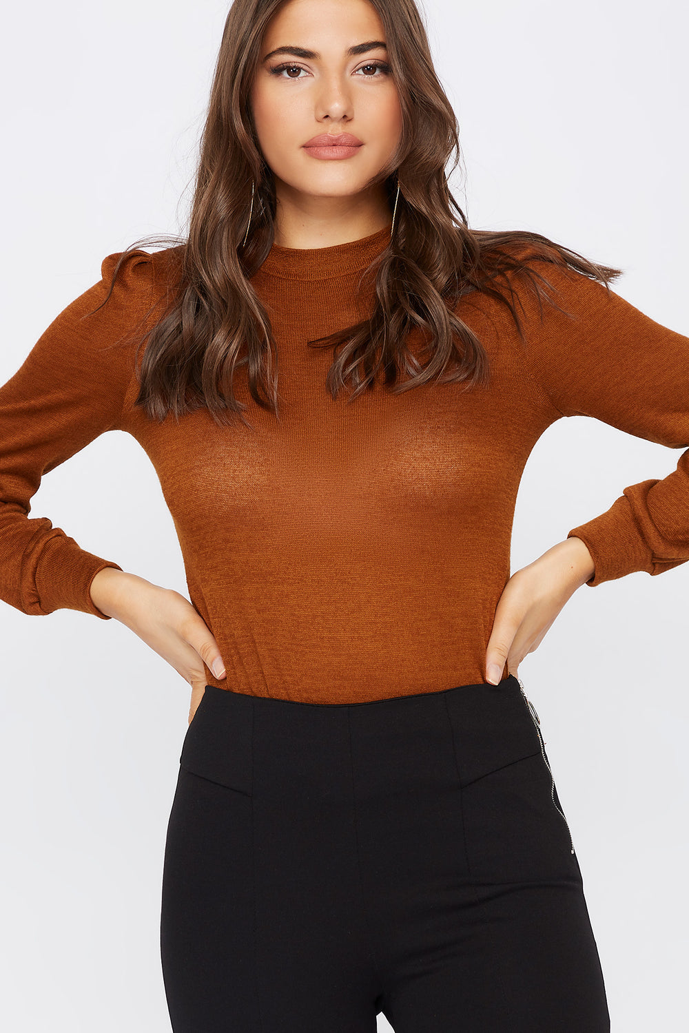Knit Mock Neck Puff Sleeve Top Taupe