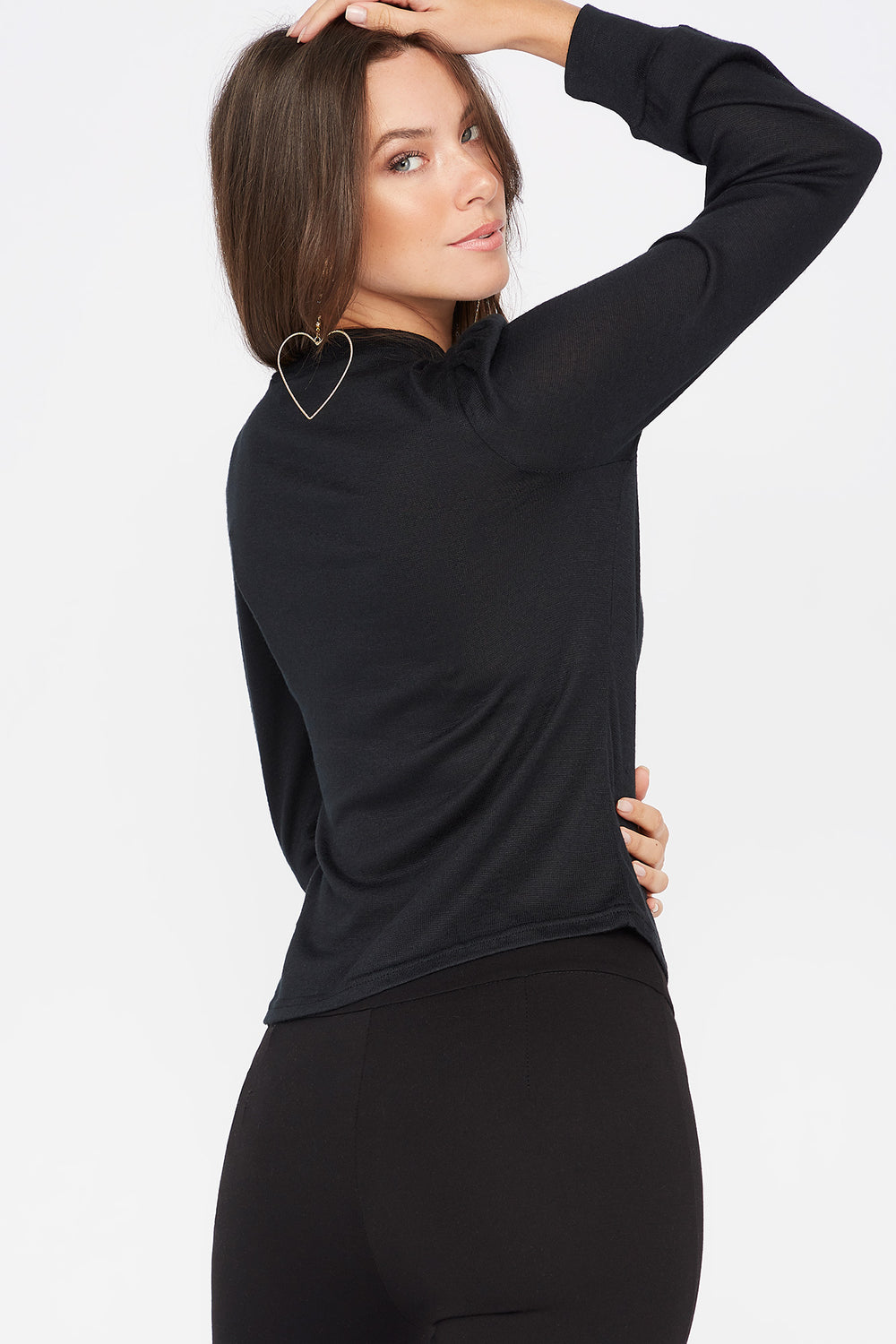 Knit Mock Neck Puff Sleeve Top Black