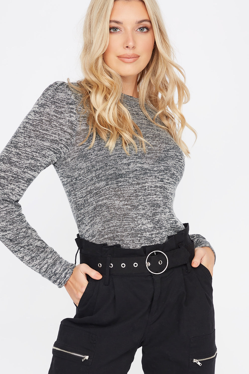 Knit Mock Neck Puff Sleeve Top Charcoal