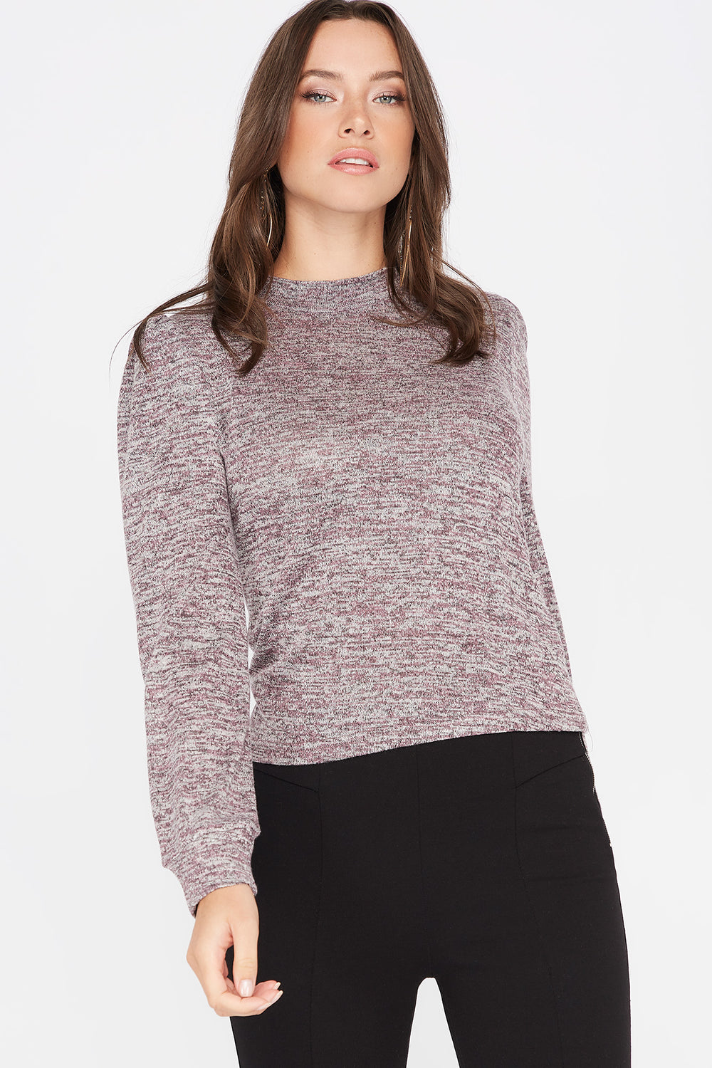 Knit Mock Neck Puff Sleeve Top Mauve