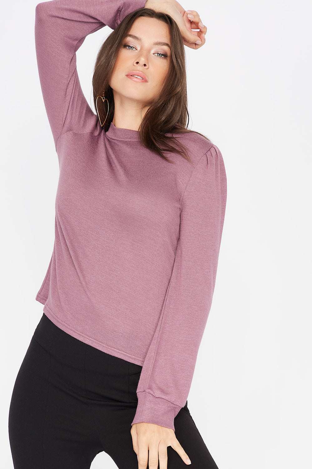 Knit Mock Neck Puff Sleeve Top Lilac