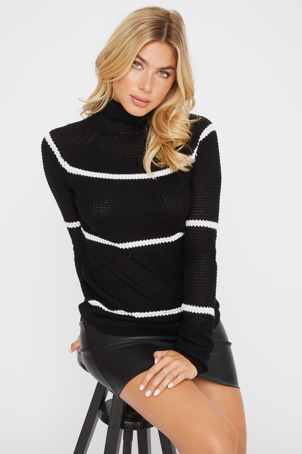 Striped Crochet Turtleneck Sweater Black