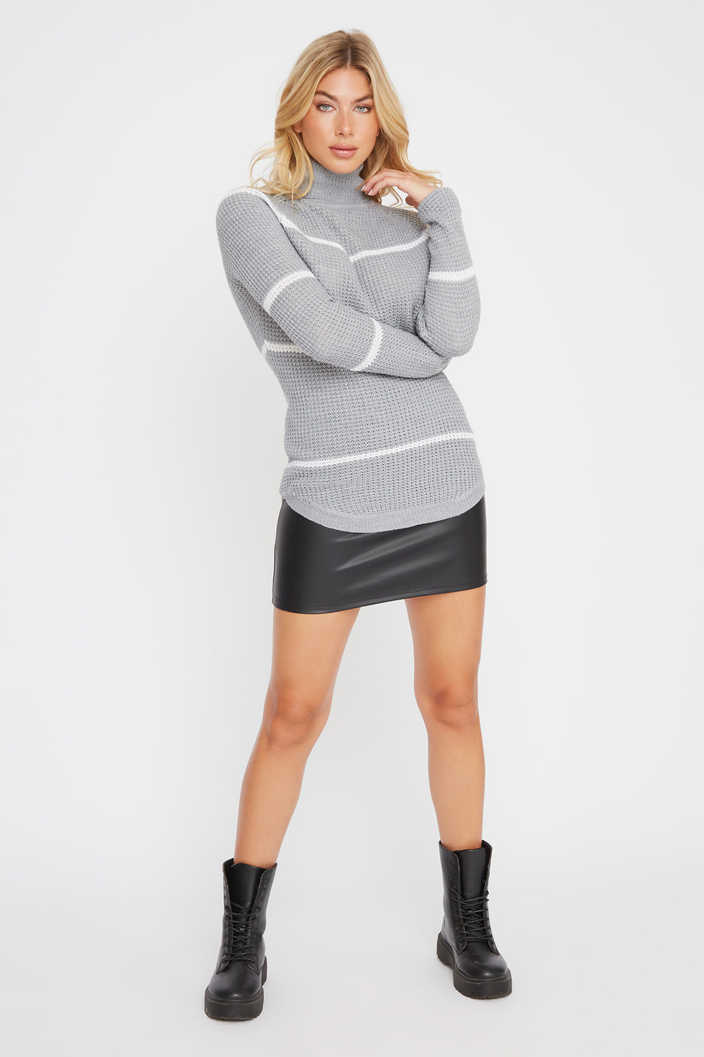 Striped Crochet Turtleneck Sweater Heather Grey