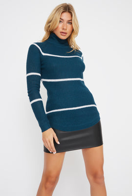 Striped Crochet Turtleneck Sweater