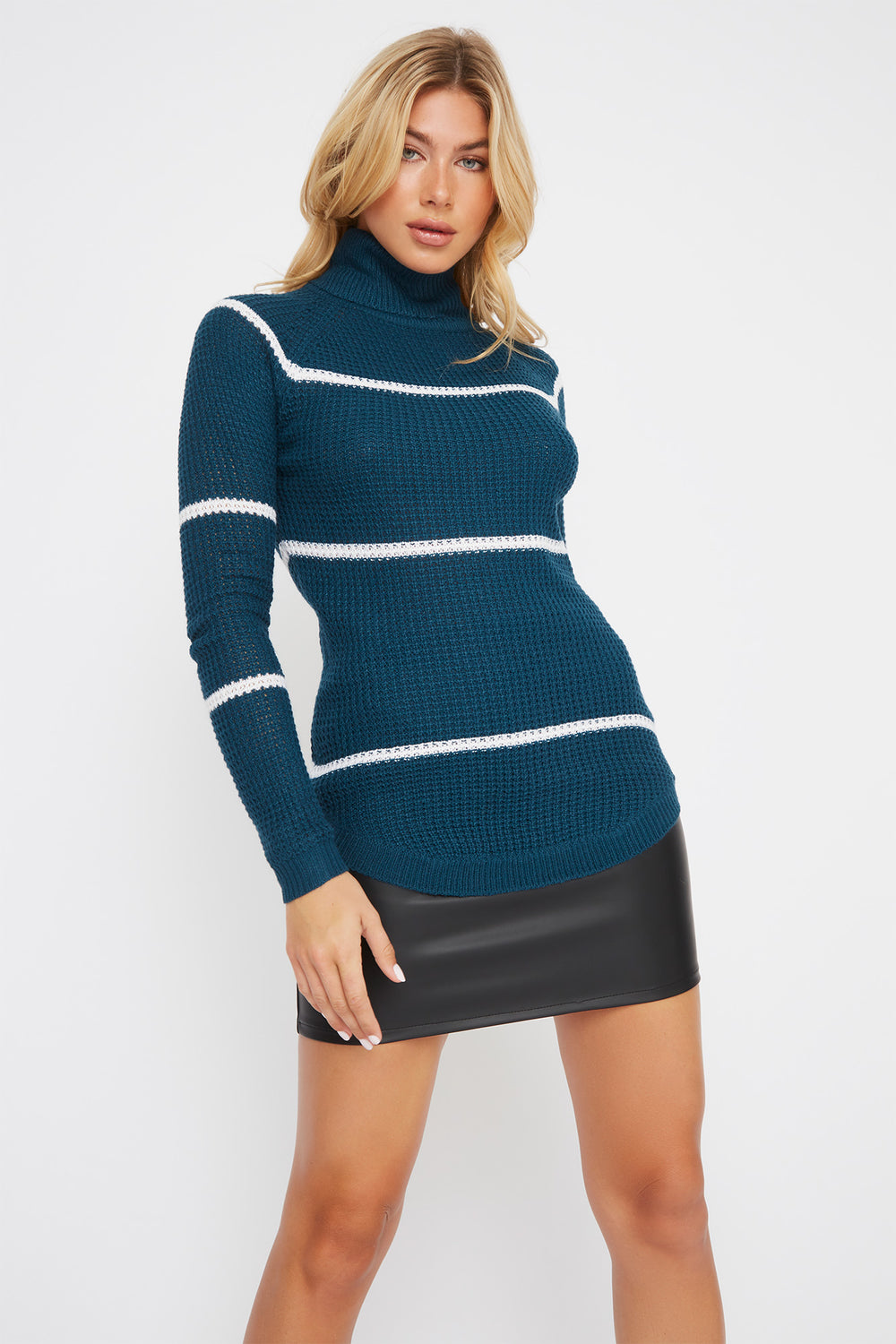 Striped Crochet Turtleneck Sweater Ocean Blue