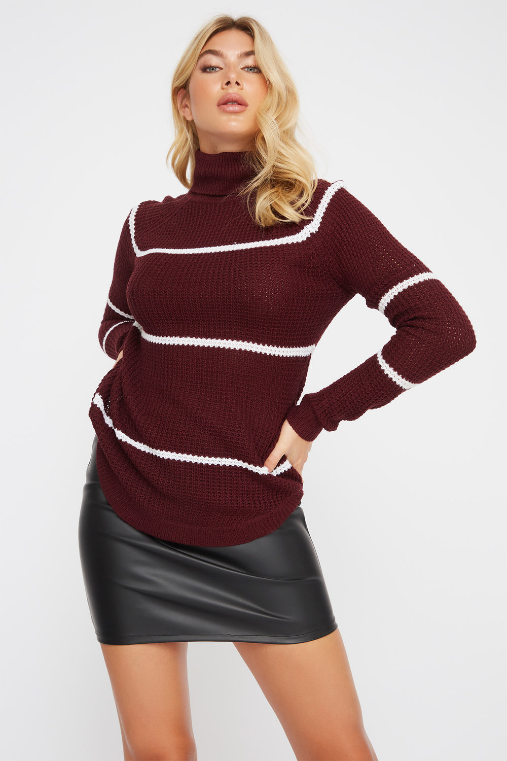 Striped Crochet Turtleneck Sweater Burgundy