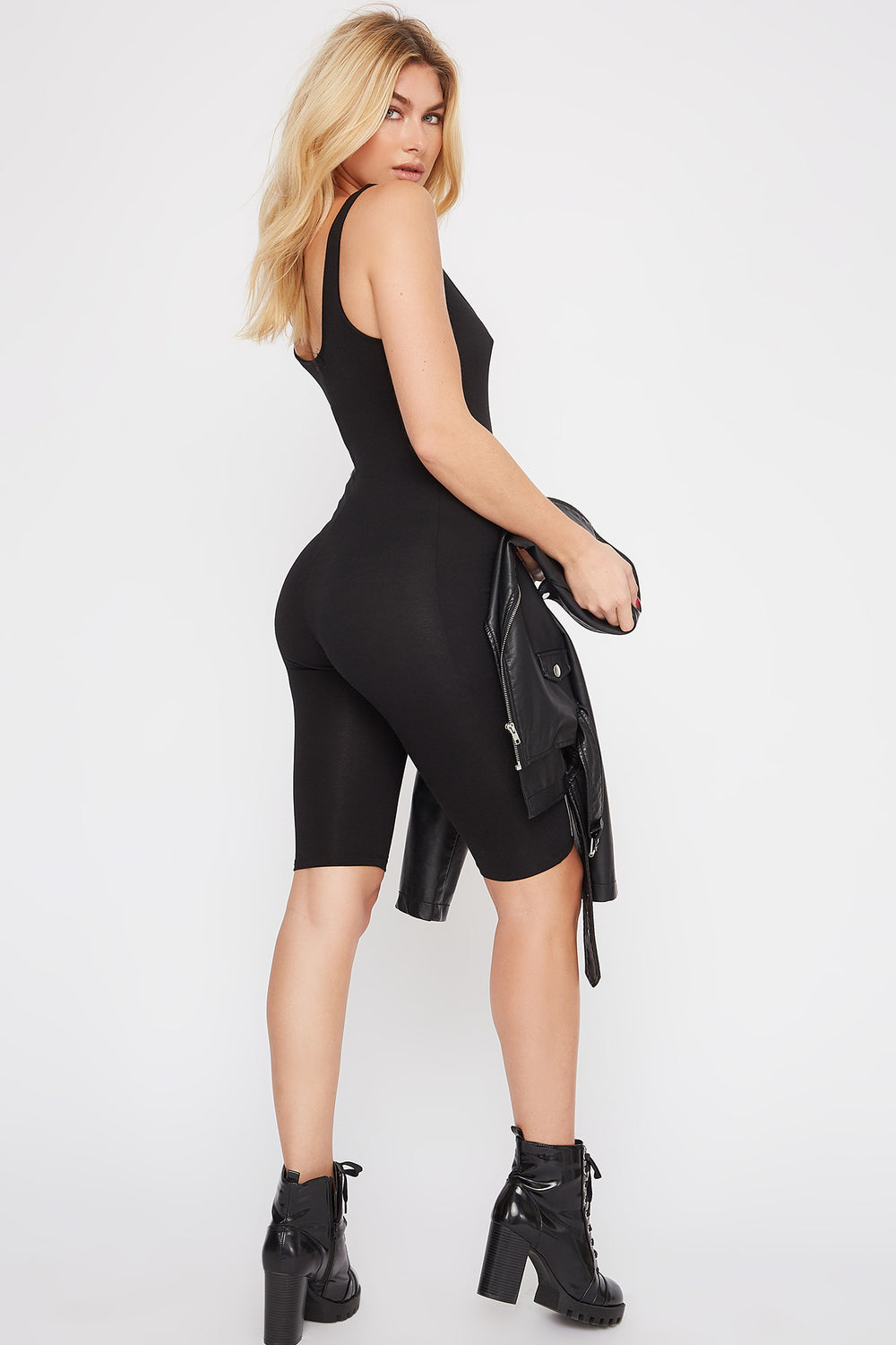 Bodycon Biker Romper Black