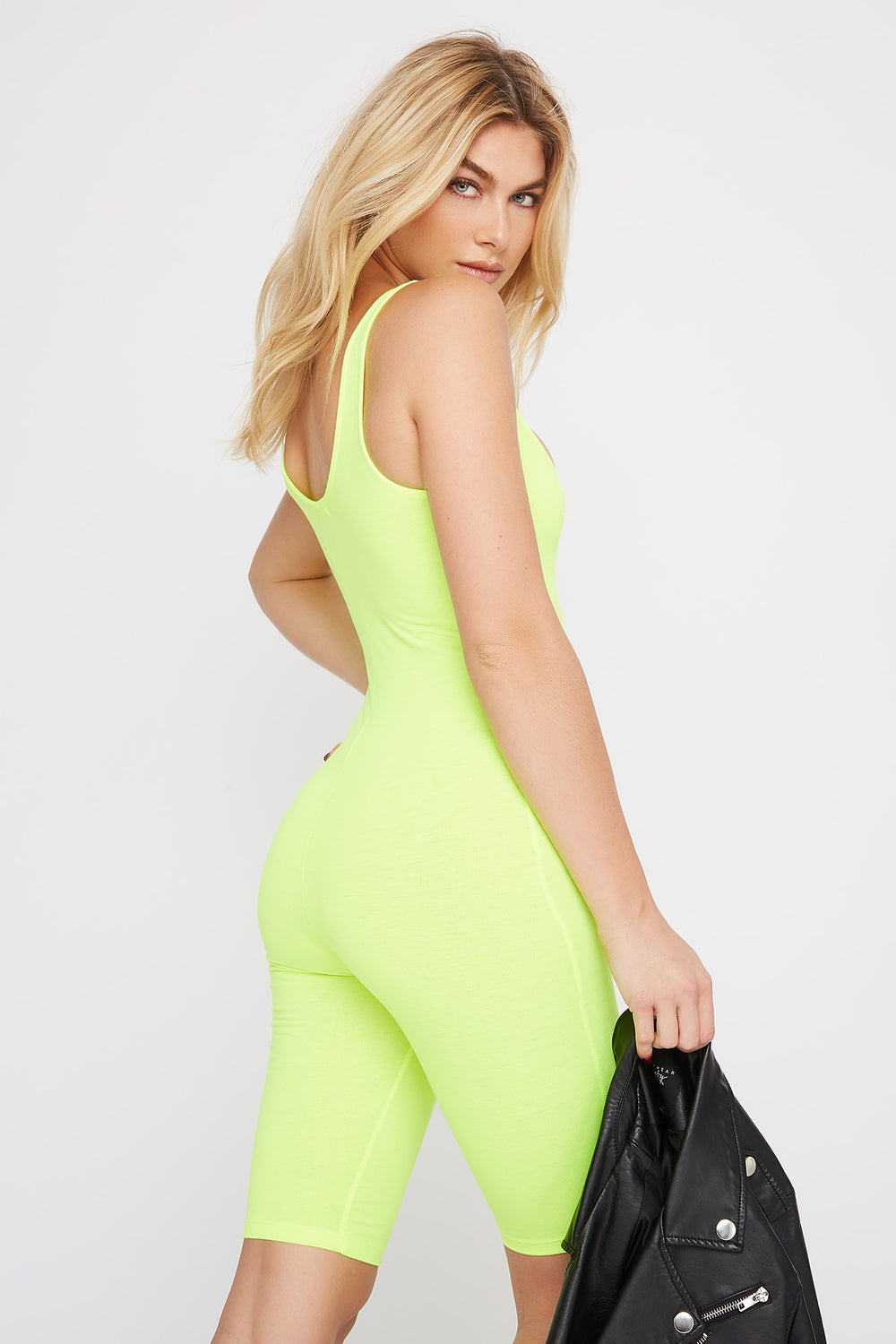 Bodycon Biker Romper Neon Green