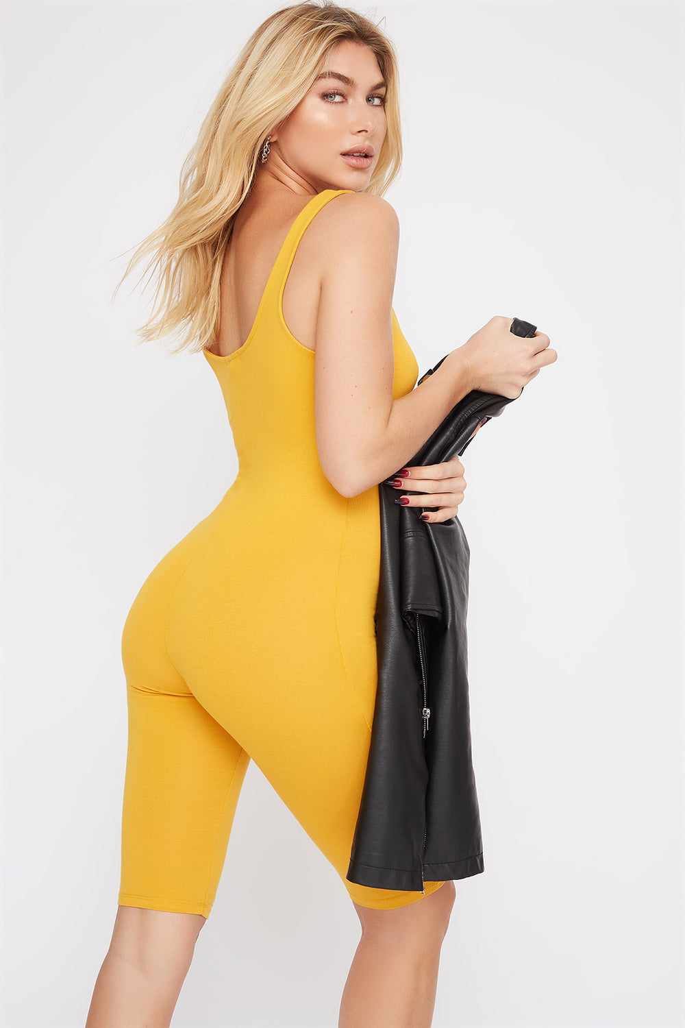Bodycon Biker Romper Yellow