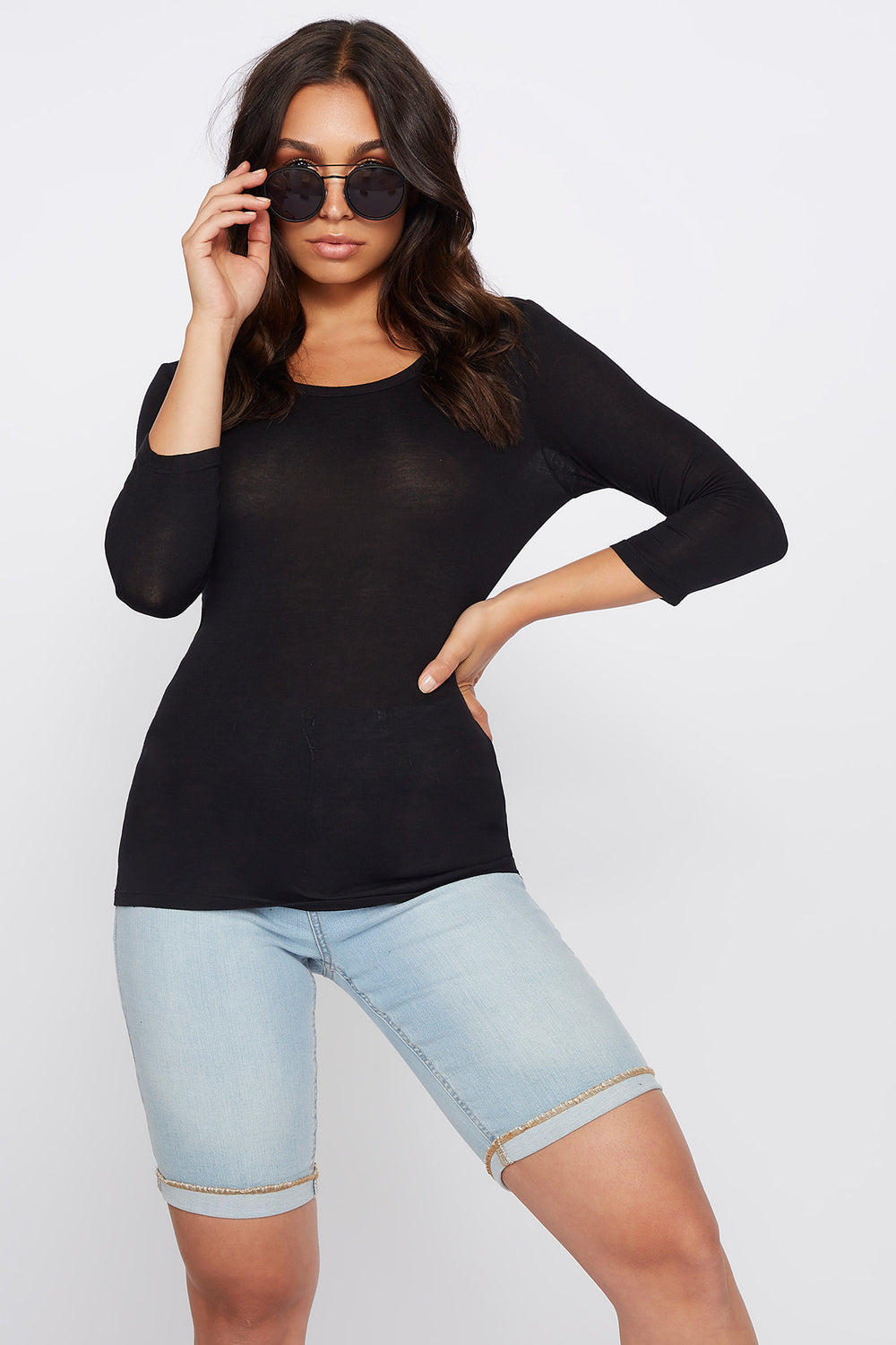 Basic Crew Neck Long Sleeve Shirt Black