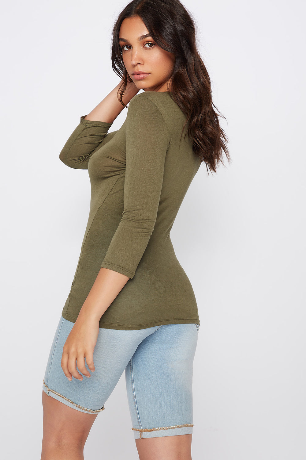 Basic Crew Neck Long Sleeve Shirt Green