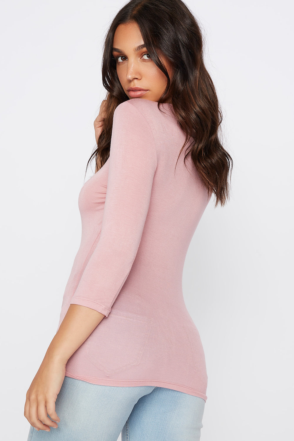 Basic Crew Neck Long Sleeve Shirt Mauve