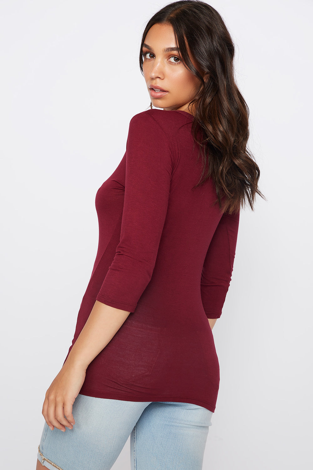 Basic Crew Neck Long Sleeve Shirt Cherry