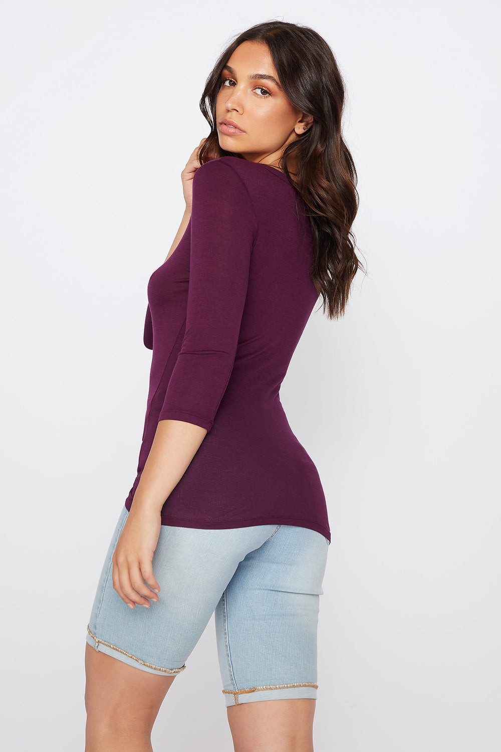 Basic Crew Neck Long Sleeve Shirt Plum