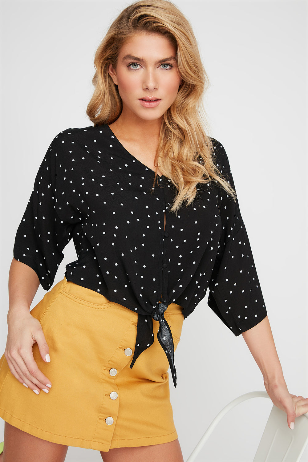 Printed V-Neck Button-Up Front Tie Blouse Black